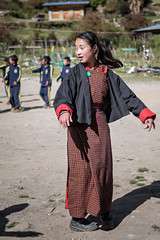Dance lesson in the schoolyard of Laya - Gasa District - Snowman Trek - Bhutan (PascalBo) Tags: nikon d500 asie asia southasia asiedusud drukyul drukgyalkhap bhutan bhoutan འབྲུག་ཡུལ། འབྲུག་རྒྱལ་ཁབ་ snowman trek trekking hike hiking lunana gasa himalaya himalayas jigmedorjinationalpark laya layap people kid child enfant girl fille school outdoor outdoors pascalboegli