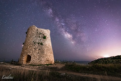 Milky Way Tower (Emilens) Tags: notte lungaesposizione fotografia puglia emilens vialattea panorama paesaggio torre europa italia mare faro stelle architettura acqua architecture europe italy landscape longexposure milkyway night photography sea stars tower water