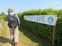 UK - Kent - Capel-le-Ferne - Walking along North Downs Way past cliff top cafe (JulesFoto) Tags: uk england kent centrallondonoutdoorgroup clog capelleferne walking northdownsway englandcoastpath sign
