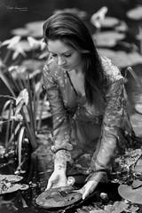 Nymph picking flowers (piotr_szymanek) Tags: patrycja patrycjaz blackandwhite ouitdoor portrait face longhair woman milf young skinny hand water transparent dress river flower 20f 50f 1k 5k 100f 10k 20k 30k outdoor