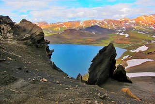 Iceland ~ Landmannalaugar Route ~  Ultramarathon is held on the route each July ~ Hiking from Camp -  Lava