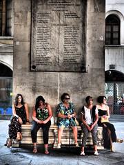 Five (Riccardo Palazzani - Italy) Tags: brescia women donne street photograpy ages five 5 cinque lombardei ロンバルディ 伦巴第大区 lombardie ломбардия lombardia لومباردي 롬바르디아 italia italie italien italy 이탈리아 италия itália italië イタリア italya 意大利 إيطاليا riccardo palazzani veridiano3 olympus omd em1 age loggia piazza palazzo girl donna