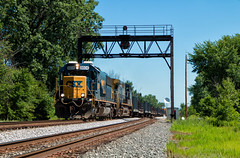 High Sun Necessity (Wheelnrail) Tags: csx csxt train trains emd sd502 locomotive railroad rail road q277 toledo subdivision signal signals cpl color position light gantry siding cairo ohio lima high sun standard cab