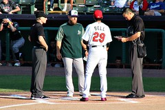 EXCHANGING LINE-UPS (MIKECNY) Tags: manager umpire baseball tricityvalleycats vermontlakemonsters jasonbell lloydturner nypennleague minorleague as astros