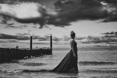 Fernweh... (Rosa H.LightArt) Tags: portrait beauty beautiful blackandwhite bestoftheday monochrome people clouds seascape dress woman composing fineart