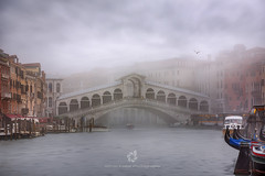 Rialto Bridge, Venice, Italy (fesign) Tags: architecture bridgebuiltstructure buildingexterior businessfinanceandindustry colourimage famousplace fog grandcanalvenice horizontal idyllic internationallandmark italianculture italy majestic nationallandmark outdoors photography rialtobridge scenics tourism vacations veneto veniceitaly water bird port boat morning early gondolatraditionalboat vaporetto nauticalvessel ethereal pole romance pastel