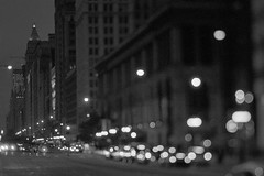 Downtown Chicago's Vintage Feel (Jovan Jimenez) Tags: canon rebel t2 hasselblad carl zeiss planar 80mm f28 kodak tmax 3200 tilt shift building city chiacgo night bokeh tiltshift film analog analogue vintage black white gray eos 300x kiss7 35mm slr street