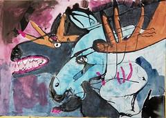 meeting in the open (raumoberbayern) Tags: robbbilder sketchbook sketch skizzenblock acryl acrylic ink tusche fineliner dina1 painting malerei moose elch bear bär wolf
