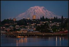 Mount Rainier/Tacoma Blue Hour (Ernie Misner) Tags: f8andcountseconds longexposure tacomawa tacoma washington mountrainier rainier erniemisner bulbexposuremode bulb lightroom nik topazstudio capturenx2 ndfilter 10stopnd polarizer alpenglow