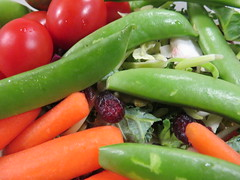 I like variety in my salad. (vickilw) Tags: food vegetable salad tomato carrot snappea kale cabbage cranberry variety 6ws abundance 482018 48118