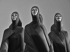 Feast of Muses (RobertLx) Tags: sculpture feastofmuses stanislovaskuzma theatre vilnius lithuania baltic city culture art street monochrome creepy dark haunting europe bw black trinity muse woman architecture
