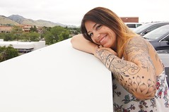 Whole hearted life (Clever Poet) Tags: sleeve face beautiful portrait tattoos tats background mountains coworker woman friend chris rooftop office