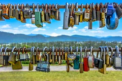 Love lock 💖 (Christie : Colour & Light Collection) Tags: lock love lovelocks bar romance romanic inlove park quirky heritagepark missionbc keylock combinationlocks outdoors fraservalley britishcolumbia locked fastened lockcollection fun happy mountains dof padlock