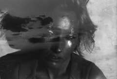 Mercury (Tamar Burduli) Tags: analog film blackandwhite monochrome tamarburduli 35mm doubleexposure multipleexposure portrait female woman girl sea sunset clouds seascape nature sensual beautiful makeup glitter face