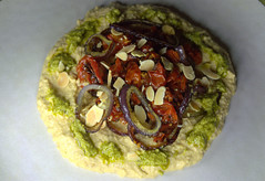 Oven Roasted Tomato, Red Onion, Chilli Houmous, Green Pesto, Toasted Almonds (Tony Worrall) Tags: add tag ©2018tonyworrall images photos photograff things uk england food foodie grub eat eaten taste tasty cook cooked iatethis foodporn foodpictures picturesoffood dish dishes menu plate plated made ingrediants nice flavour foodophile x yummy make tasted meal nutritional freshtaste foodstuff cuisine nourishment nutriments provisions ration refreshment store sustenance fare foodstuffs meals snacks bites chow cookery diet eatable fodder ovenroastedtomato redonion chillihoumous greenpesto toastedalmonds