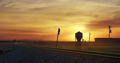 Time to relax with a beer (PeterThoeny) Tags: helm california railway track railwaytrack rocket rocketlaunch sky building silo outdoor dusk sunset sony a6000 sel55210 1xp raw photomatix hdr qualityhdr qualityhdrphotography grass fav200