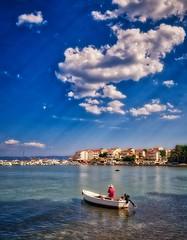 Stobreč, Croatia (Vest der ute) Tags: g7xm2 g7xll croatia sea water clouds sky bluesky boat man city seaside buildings houses boats trees summer fav25 fav200