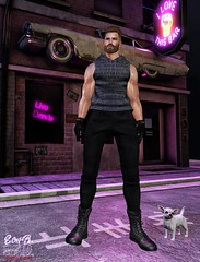 . EohB . #Burley #Catwa #Straydog #Kalback #NOCHE #Gild #ValeKoer (Crayolas Clothes) Tags: burley catwa straydog kalback noche gild valekoer rude rudo men man gay guy mate male buddy stud thick car street hot hawt 2018 garage gloves leather boots sl slfashion slmen secondlife