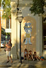 Touring from France (radargeek) Tags: charleston sc southcarolina downtown 2017 kids mural umbrella family tourist august tophat