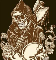 Vector T-shirt Design with Skull Man (stockgraphicdesigns) Tags: floral hunter skull skullman smartpack03