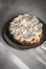 Vegan Brownie Cake with Aquafaba Meringue (Urban Kitchen Affair) Tags: vegan baking food photography foodblog brownie meringue