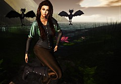 My Little Dragons (kare Karas) Tags: woman lady femme girl girly sweet pretty cute medieval fantasy mystic virtual avatar secondlife roleplay game fun colors custom outfit mesh hud events outdoors july summer hair poses feral charme glitterposes sanaraeevent posefair