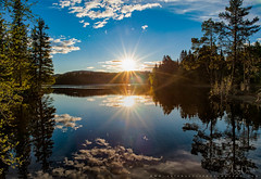 Double Sun In Leirsjøen (Aziz Nasuti) Tags: landscape leirsjøen reflection lake nikon opplevtrondelag tree norway sun blue green sunlight beautiful summer norge exploretrondelag trondheim sky sunburst trondheimwater trøndelag sommer nrktrondelag sørtrøndelag no