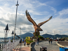 Eagle Square on Langkawi Island (phuong.sg@gmail.com) Tags: afternoon air animal architecture art asia asian attraction big bird blue city clouds colors destinations eagle falcon famous feathers flying freedom holiday island kuah landmark langkawi malaysia malaysian monument nature orange sculpture sea sightseeing sky southeast square statue stone symbol talons tourism tourist travel wings