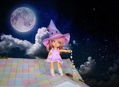 Midnight Flight #3 (Arthoniel) Tags: marshmallowchai lati latiyellow latidoll nana tan witch miniature tiny moon broom magic bjd balljointeddoll doll figure collection resin jointed sky