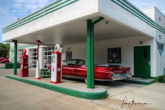 Retro Texaco Station (Tom Mortenson) Tags: wisconsin eauclaire eauclairewisconsin texaco texacostation fillingstation servicestation petroliana gas pumps gasoline gaspumps cadillac vintagecadillac cadillacconvertible collectorcar nostalgia america automobile usa northamerica eauclairecounty digital canon canon6d canoneos 24105l garage 1963cadillac hdr tonemapping photomatix vintagecar retrogasstation geotagged midwest