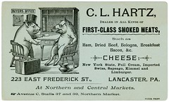 C. L. Hartz, Dealer in Meats and Cheese, Lancaster, Pennsylvania (Alan Mays) Tags: ephemera businesscards tradecards advertising advertisements ads cards names paper printed hartz clhartz dealers smokedmeats meats hams cheeses offices buyers salesmen travelingsalesmen men samplescases cases suitcases chairs desks cuspidors orders pigs animals anthropomorphic anthropomorphism illustrations manicule manicules hands fists pointing markets northernmarket centralmarket stalls stands frederickstreet lancaster pa lancastercounty pennsylvania antique old vintage typefaces type typography fonts landis dblandis davidbachmanlandis pluck pluckprint pluckartprint pluckprintery pluckartprintery printers printeries printshops jobprinters crosscup west crosscupwest crosscupandwest engravers engravings philadelphia