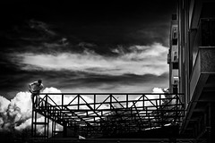 Work Safe! (Alfred Grupstra) Tags: blackandwhite sky cloudsky cloudscape industry silhouette builtstructure outdoors dark steel dramaticsky blackcolor metal sunset people old ohrid macedonia work building flex 826
