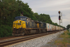 CSX Q046 at Rerdell, FL 7-8-18 (tarellsallie) Tags: csx norfolksouthern bnsf unionpacific canadianpacific canadiannational trains railroading railroad florida bushnell rerdell webster canon canont3i macbook edit lightroom copyright july 2018