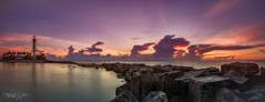Lighthouse Rock Panorama (MyKeyC) Tags: hillsboro inlet lighthouse rocks sunrise dawn panorama ocean reflections clouds