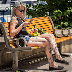 Phone Time Downtown (Dan Dewan) Tags: 2018 canonef70200mmf14lisusm portrait tattoo street people person canon colour ottawa june sunday woman ontario canada glasses dandewan lady