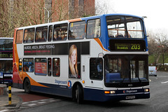 18023 MX53 FLC (Cumberland Patriot) Tags: stagecoach north west england greater manchester south buses stockport dennis trident plaxton president 18023 mx53flc low floor double deck decker bus derv diesel engine road vehicle public transport 203