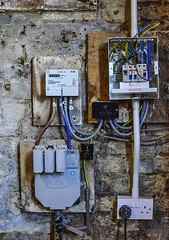 Wiring (johnson.gordana) Tags: box electricity wiring switch cable plug wall brick blue yellow m eter