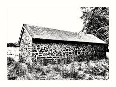 Barn and Gate (Develew) Tags: barn stonebarn longshaw longshawestate nationaltrust derbyshire england blackwhite monochrome whiteblack gate burntout highkey