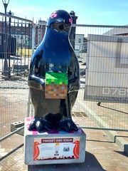 Maggie's Penguin Parade: Number 68: Minecraft Ender Penguin (Dave Paterson) Tags: penguin parade cute cuddly fun fantastic imagination imaginative tayside dundee brechin newport kirriemuir perth design art artists creative creation sculpture tourist trail sea river bridge blue sky sun sunshine weather charity cancer maggies care suffering donation auction