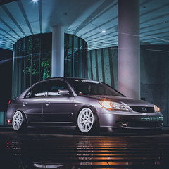 ES Civic sitting low on NT-03. (TrixSigio) Tags: sony a7ii pentax 50mm f14 kmount honda civic es enkei nt03 spider stance lowered stancenation fitment car automobile automotive umn lobby slow shutter long exposure lighting