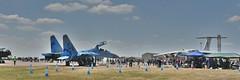 Sukhoi SU-27 and Ilyushin IL-76 (Bri_J) Tags: riat2018 royalinternationalairtattoo raffairford fairford gloucestershire uk riat airshow aircraft hdr nikon d7200 sukhoisu27 ilyushinil76 sukhoi su27 ilyushin il76 ukrainianairforce jet fighter panorama