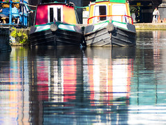 Two barges with faces! (Andy Sut) Tags: nottingham uk england citycentre urban pareidolia canal barges reflections water boats