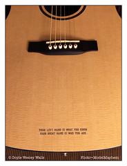 Guitar (Doyle Wesley Walls) Tags: lagniappe 7315 guitar text words musicalinstrument language photograph iphonephoto doylewesleywalls english stringedinstrument guitarra غيتار guitare gitarre violão giotár gitarr bridge saddle soundhole