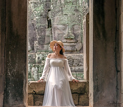 The Woman in White (Tony_Brasier) Tags: woman hat nikond7200 statues stones fun lovely location walls 18140mm cambodia golden eat flickr fantastic flowers