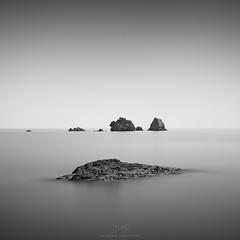 m a v e r i c k (*Jin Mikami*) Tags: monochrome bw bnw black white landscape rock photoshopped minimalism surreal square japan pentax sea seascape sky fineart
