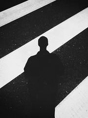 (DanielKuzmin) Tags: blackandwhite street abstract crosswalk urban selfie shadow
