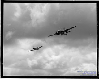 Kodak B&W Film Print of .@FlyingHeritage P-40C Escorting B-25J Buster Under Clouds