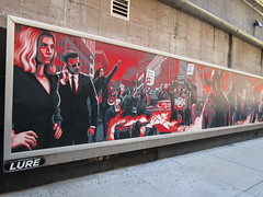 The First Purge Movie Poster Art 35th St 8th Ave NYC 5011 (Brechtbug) Tags: the first purge posters billboard horror film prequel standee billboards movie poster art rioting masked protesters mayhem 36th street near 8th ave amc theatre new york city 07072018 nyc 2018 graffiti looking arts mural subway entrance mask costume costumed post apocalyptic political satire politics violence violent humor riot riots gang mob hunting people down hunt version most dangerous game battle royal crime criminals terror terrorists terrorist