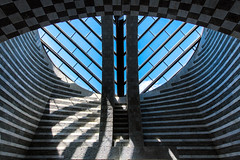 Chiesa di San Giovanni Battista (Guy Goetzinger) Tags: architektur kirche mogno switzerland goetzinger nikon d850 2018 chapel chapelle church mario botta ticino religion architecture linien chiesa blue sky granit