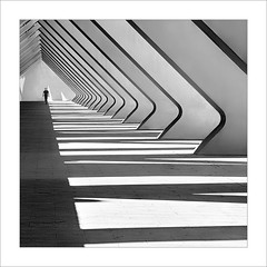 En la línia / On the line. (ximo rosell) Tags: ximorosell bn blackandwhite blancoynegro bw buildings composició calatrava valencia ciudaddelasciencias llum luz light people white arquitectura architecture abstract